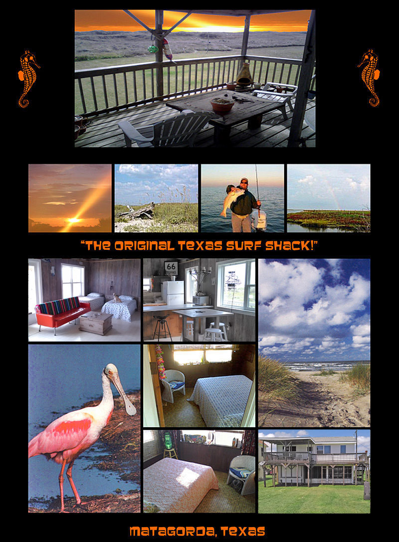 Texas Gulf Coast Vacation Rental Matagorda Beach Beachfront House Sand Water Mexico Surf Shack Cabin Summer Winter Fall Spring Ocean Bay Colorado River Pictures